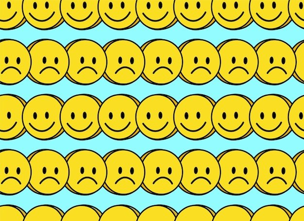 Funny smile and sad face seamless pattern