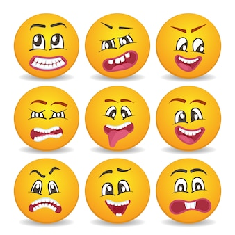 Funny smileys faces isolated icon set
