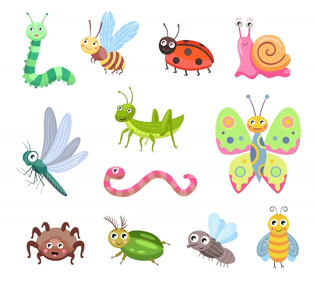 Funny smiling bugs flat icon set