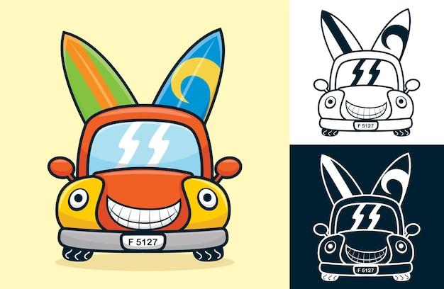 2つのサーフボードを運ぶ面白い笑顔の車。フラットアイコンスタイルの漫画イラスト