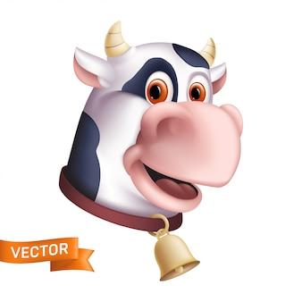 Смешной улыбающийся корова персонаж. мультфильм талисман головы. иллюстрация рогатого домашнего животного с золотым колокольчиком на белом фоне. отлично подходит для графического дизайна ко всемирному дню молока