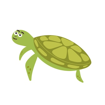 Funny smiling green turtle