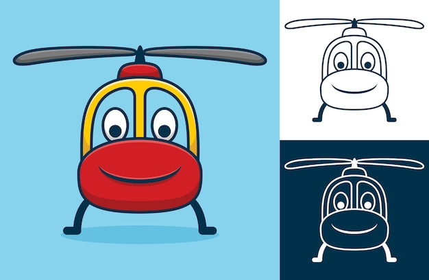 Funny smiling helicopter.   cartoon illustration in flat icon style