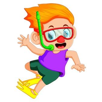 Funny snorkeling boy