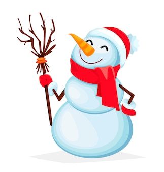 Funny snowman cartoon character