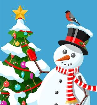 Забавный персонаж снеговика приветствие иллюстрации