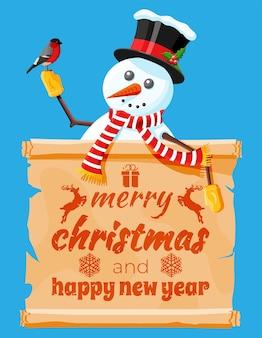 面白い雪だるまのキャラクターの挨拶。雪だるまの頭とテキストでスクロールします。明けましておめでとうございます。メリークリスマス休暇。新年とクリスマスのお祝い。フラットスタイルのベクトル図