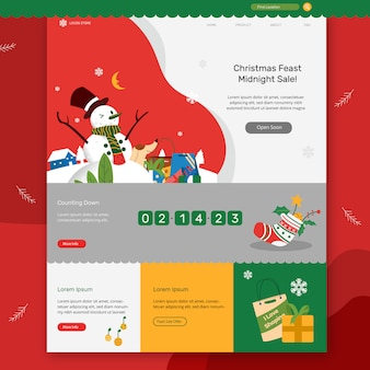Funny snowman christmas sale banner website landing page