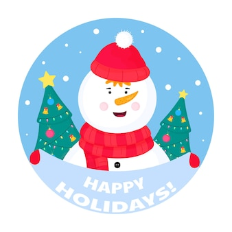 Забавный снеговик держит табличку с надписью «с праздником»