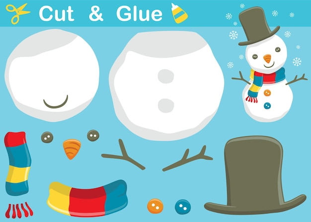 Funny snowman with snowflake. education paper game for children. cutout and gluing.   cartoon illustration