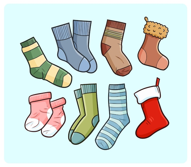 Funny socks collection in simple doodle style