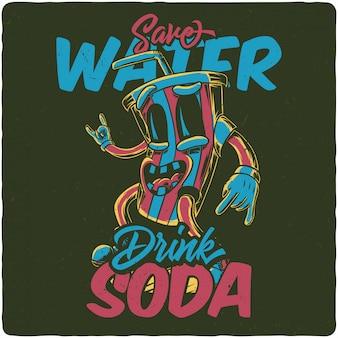 A funny soda character
