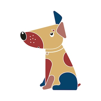 Funny spotted multicolored dog symbol of the chinese new year 2018.