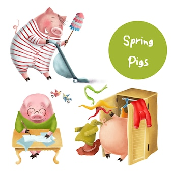 Funny spring pigs characters