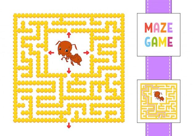 Забавный квадратный лабиринт. игра для детей. насекомое муравей. пазл для детей. лабиринт головоломки с характером.