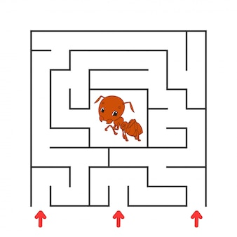 Забавный квадратный лабиринт. игра для детей. пазл для детей. мультипликационный персонаж.