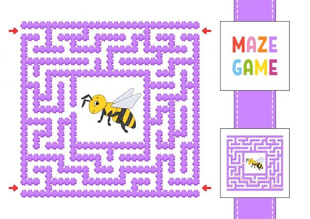 Забавный квадратный лабиринт. игра для детей. пазл для детей. мультяшный стиль