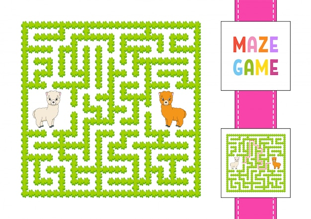 Funny square maze. game for kids. animal alpaca. puzzle for children. labyrinth conundrum with character.
