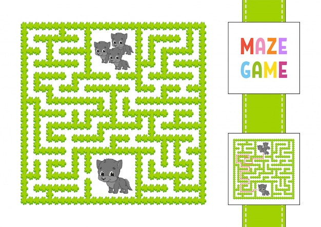Funny square maze. game for kids. animal wolf. puzzle for children. labyrinth conundrum with character.