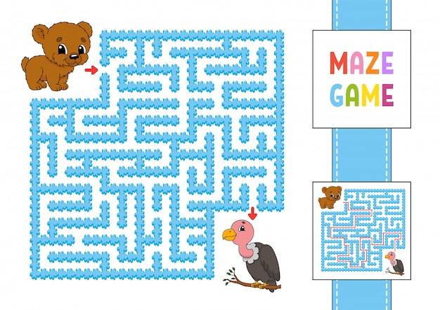 Funny square maze. game for kids. bear and vulture. puzzle for children. labyrinth conundrum with character.