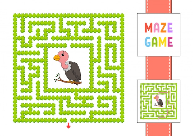 Funny square maze. game for kids. gray vulture. puzzle for children. labyrinth conundrum with character.