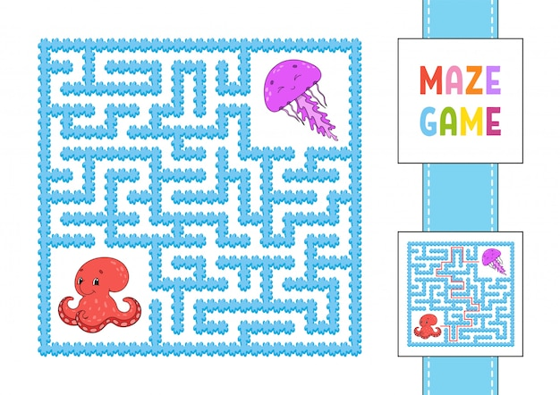 Funny square maze. game for kids. octopus and jellyfish. puzzle for children.