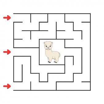 Funny square maze. game for kids. puzzle for children. cartoon character. labyrinth conundrum.