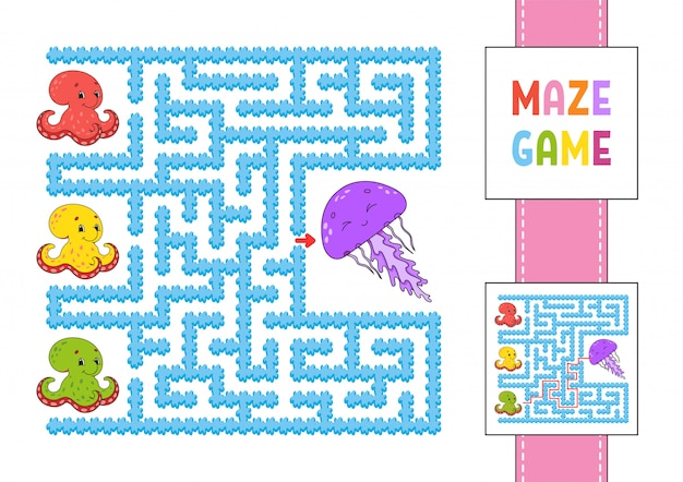 Funny square maze. game for kids. puzzle for children. labyrinth conundrum with character. octopus and jellyfish.
