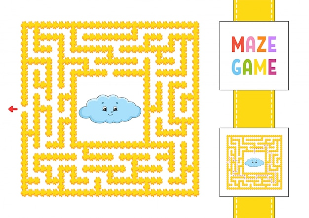 Funny square maze, game for kids.