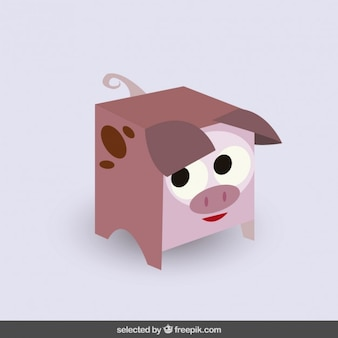 Funny squared pig