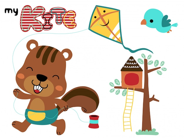 Funny squirrel cartoon playing kite