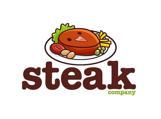 面白いステーキ会社のロゴテンプレート