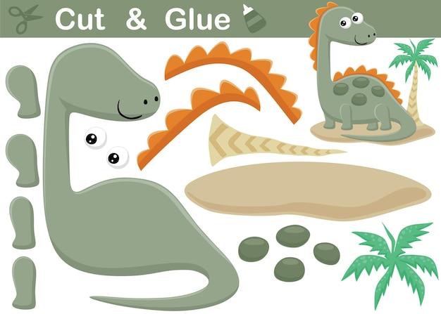 Забавный мультяшный стегозавр с пальмой. развивающая бумажная игра для детей. вырезка и склейка