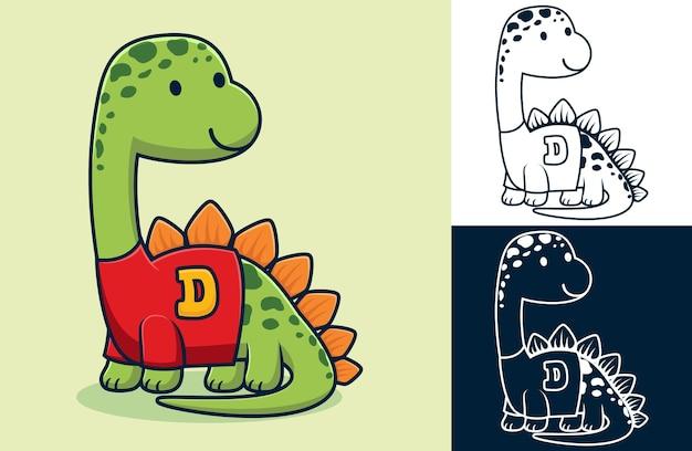 服を着て面白いステゴサウルス。フラットアイコンスタイルのベクトル漫画イラスト