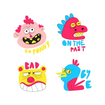 Funny sticker collection hand drawn