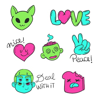 Funny sticker collection with acid colors