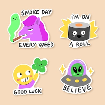 Funny sticker hand-drawn collection