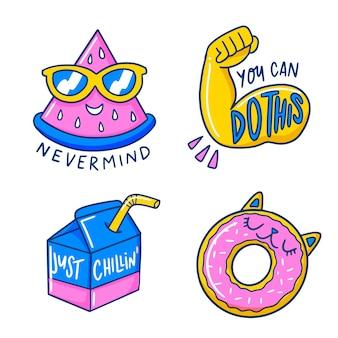 Funny sticker hand-drawn set