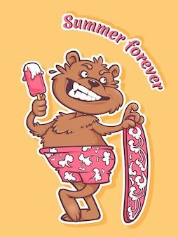 아이스크림과 서핑 보드와 함께 해변에서 곰의 재미있는 스티커.