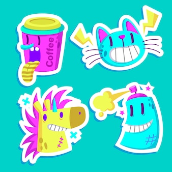 Funny sticker pack with acid colors