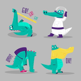 Funny stickers collection of crocodiles