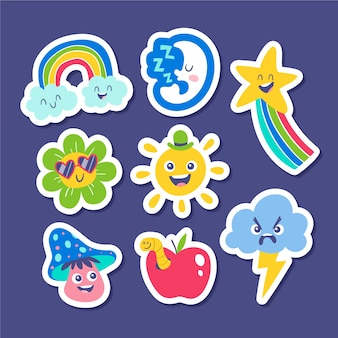 Funny stickers collection of weather