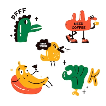 Funny stickers collection with faces and arms