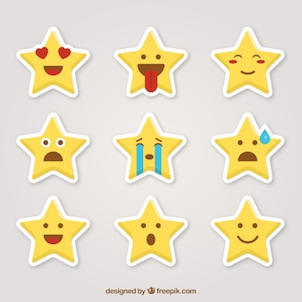 Funny stickers with star-shaped
