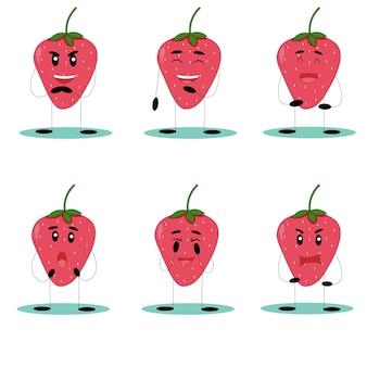 面白いイチゴ。変な顔のイチゴ。フラットベクトルイラスト