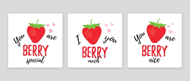 Funny strawberry slogan. quote with strawberry. cute love pun. vector illustration.