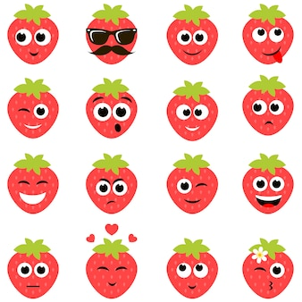 Funny strawberry smiley faces