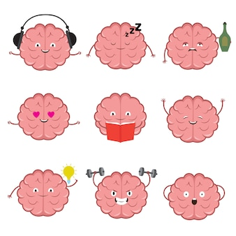Funny strong, healthy and smart brain. brains emotions vector cartoon characters set