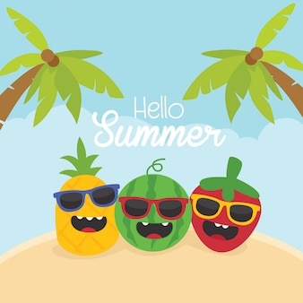 Funny summer card with cute fruit characters