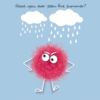 Funny  summer illustration with fluffy pink creature